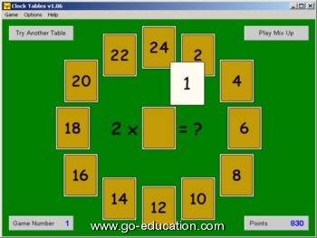 Clock tables, multiplication tables game
