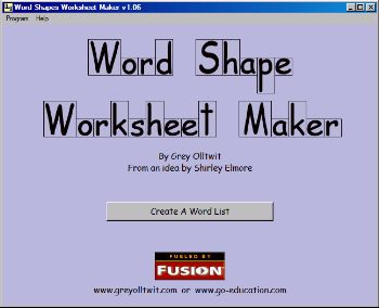 Word Shape Worksheet Maker Educational Software